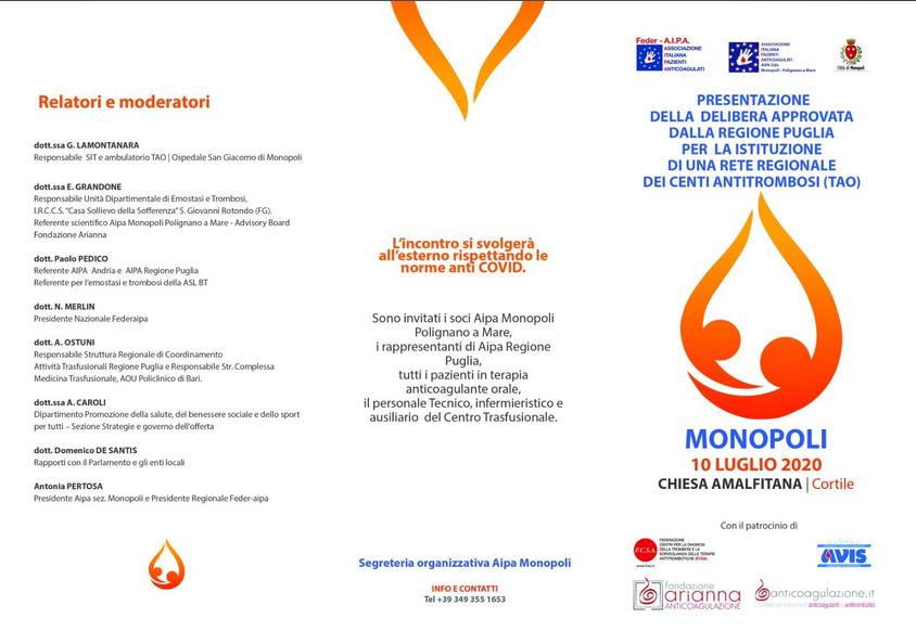 10 Luglio 2020 Presentazione Delibera Della Regione Puglia Per La Istituzione Di Una Rete Regionale Dei Centri Antitrombosi Tao A I P A Monopoli Polignano A Mare